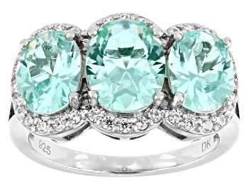 Picture of Lab Green Spinel And White Cubic Zirconia Rhodium Over Silver Ring