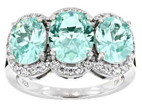 Lab Green Spinel And White Cubic Zirconia Rhodium Over Silver Ring