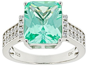 Lab Green Spinel And Cubic Zirconia Rhodium Over Silver Ring 5.08ctw   (2.90ctw DEW)
