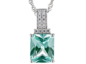 Lab Green Spinel And White Cubic Zirconia  Rhodium Over Silver Pendant With Chain