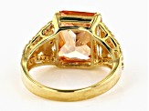 Champagne and White Cubic Zirconia 18k Yellow Gold Over Sterling Silver Ring 9.29ctw
