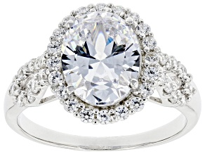 Cubic Zirconia Rhodium Over Sterling Silver Ring 5.43ctw