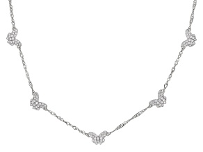 White Cubic Zirconia Rhodium Over Sterling Silver Butterfly Necklace 1.21ctw