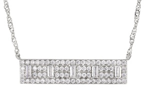 White Cubic Zirconia Rhodium Over Sterling Silver Bar Necklace 2.65ctw