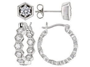 White Cubic Zirconia Rhodium Over Sterling Silver Hoop And Stud Earring Set 2.10ctw