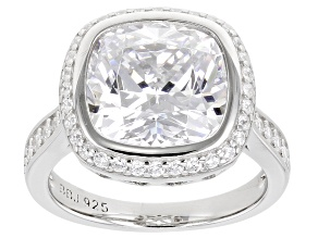 Cubic Zirconia Platinum Over Sterling Silver Ring. 8.99ctw