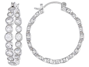 Cubic Zirconia Rhodium Over Sterling Silver Hoop Earrings. 5.51ctw