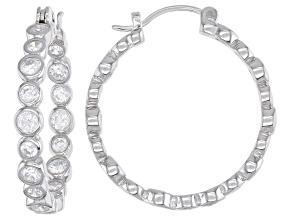 Cubic Zirconia Rhodium Over Sterling Silver Hoop Earrings. 5.51ctw