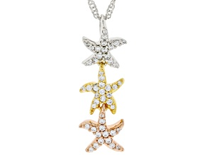 Cubic Zirconia Rhodium Over Sterling Silver And 18K Gold Over Silver Pendant With Chain