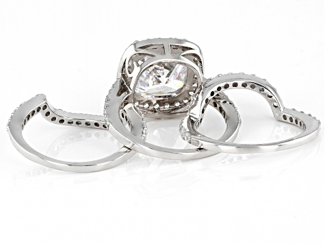 White Cubic Zirconia Rhodium Over Sterling Silver Ring Set 9.52ctw