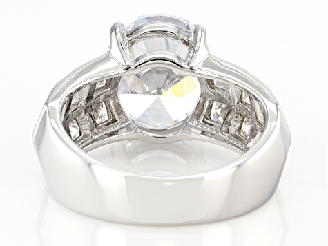 Cubic Zirconia Platinum Over Sterling Silver Ring 9.01ctw