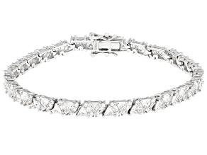 White Cubic Zirconia Rhodium Over Sterling Silver Tennis Bracelet 13.82ctw