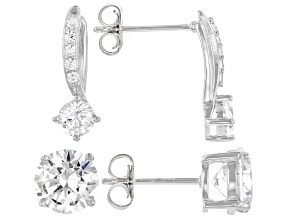 White Cubic Zirconia Rhodium Over Sterling Silver Earring Set 8.37ctw