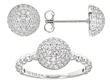 Picture of White Cubic Zirconia Rhodium Over Sterling Silver Ring And Earring Set 2.11ctw