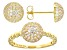 White Cubic Zirconia 18K Yellow Gold Over Sterling Silver Ring And Earring Set 2.11ctw