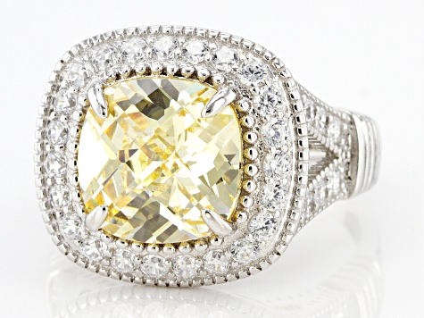 Yellow and White Cubic Zirconia  Rhodium over Silver Ring. 8.98ctw