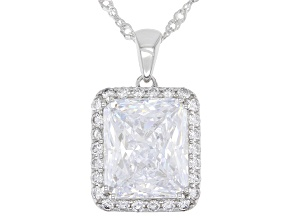 White Cubic Zirconia Rhodium Over Silver Pendant With Chain 12.71ctw