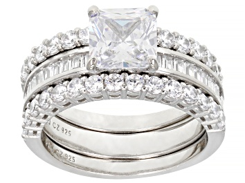 Picture of White Cubic Zirconia Platinum Over Sterling Silver Ring With Bands 5.05ctw