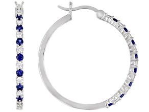 Lab Created Blue Sapphire and White Cubic Zirconia Rhodium Over Sterling Silver Earrings 1.50ctw