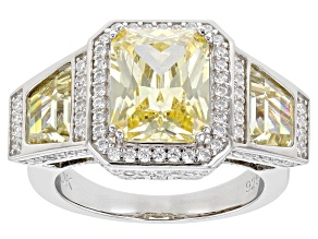 Yellow And White Cubic Zirconia Rhodium Over Sterling Silver Ring (4.88ctw DEW)