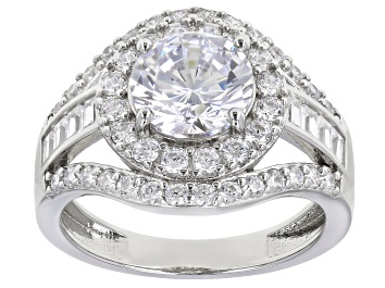 Picture of Cubic Zirconia Rhodium Over Sterling Silver Ring 3.79ctw