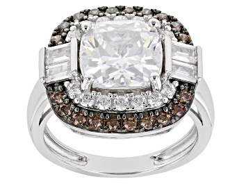 Picture of White And Brown Cubic Zirconia Rhodium Over Sterling Silver Ring. 4.43ctw  (2.95ctw DEW)