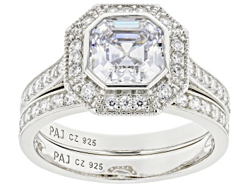 Picture of White Cubic Zirconia Platinum Over Sterling Silver Ring With Band 4.17ctw
