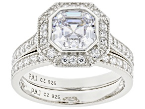 White Cubic Zirconia Platinum Over Sterling Silver Ring With Band 4.17ctw