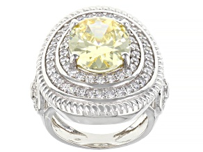 Yellow and White Cubic Zirconia Rhodium Over Sterling Silver Ring     (6.19ctw DEW)