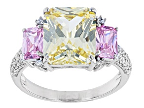 Yellow and Pink Cubic Zirconia Rhodium Over Silver Ring (5.69ctw DEW)