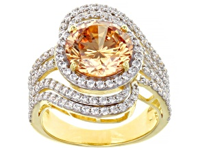 Champagne and White Cubic Zirconia 18k Yellow Gold Over Sterling Silver Ring (4.75ctw DEW)