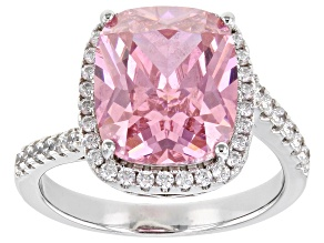 Pink And White Cubic Zirconia Rhodium Over Silver Ring (6.48ctw DEW)
