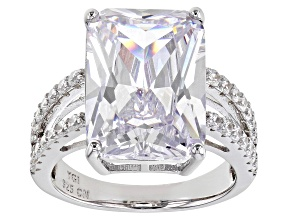 White Cubic Zirconia Rhodium Over Sterling Silver Ring 12.77ctw