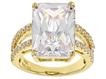 Picture of White Cubic Zirconia 18K Yellow Gold Over Sterling Silver Ring 12.77ctw