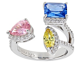 Pink, Blue, Yellow and White Cubic Zirconia Rhodium Over Silver Ring