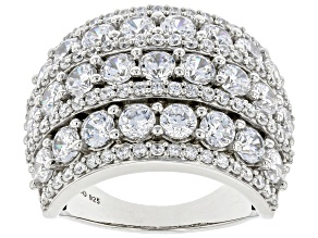 White Cubic Zirconia Rhodium Over Sterling Silver Ring 7.60ctw