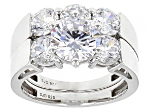 White Cubic Zirconia Platinum Over Sterling Silver Ring With Band 7.50ctw