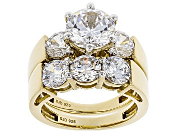 Picture of White Cubic Zirconia 18K Yellow Gold Over Sterling Silver Ring With Band 7.50ctw