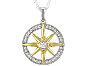 White Cubic Zirconia Rhodium and 14k Yellow Gold Over Sterling Silver Pendant With Chain .74ctw