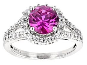 Lab Created Pink Sapphire And White Cubic Zirconia Rhodium Over Sterling Silver Ring 3.47ctw
