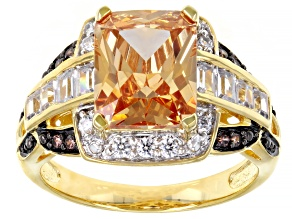 Champagne, Mocha, And White Cubic Zirconia 18K Yellow Gold Over Sterling Silver Ring 7.59ctw