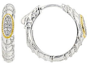 White Cubic Zirconia Rhodium And 14K Yellow Gold Over Silver Earrings 0.14ctw