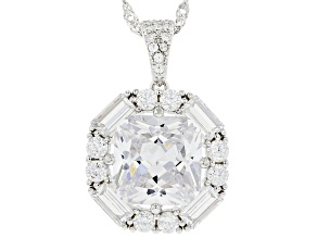 White Cubic Zirconia Rhodium Over Sterling Silver Pendant With Chain 11.90ctw