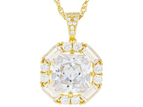 White Cubic Zirconia 18K Yellow Gold Over Sterling Silver Pendant With Chain 11.90ctw