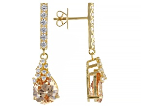 Champagne and White Cubic Zirconia 18k Yellow Gold Over Sterling Silver Earrings (5.46ctw DEW)