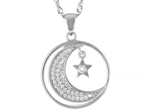 White Cubic Zirconia Rhodium Over Sterling Silver Celestial Pendant With Chain 0.35ctw