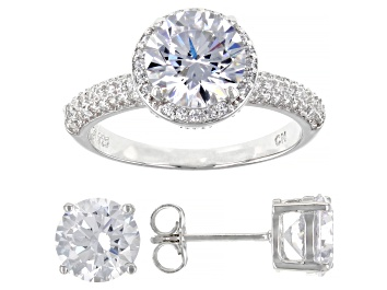 Picture of White Cubic Zirconia Rhodium Over Sterling Silver Ring And Earring Set 11.52ctw