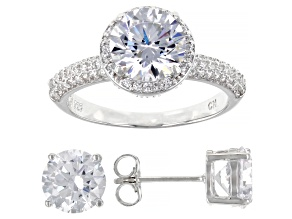 White Cubic Zirconia Rhodium Over Sterling Silver Ring And Earring Set 11.52ctw