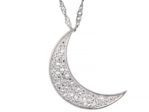 White Cubic Zirconia Rhodium Over Sterling Silver Moon Pendant With Chain 0.68ctw