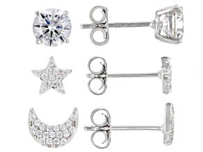 White Cubic Zirconia Rhodium Over Sterling Silver Celestial Earring Stud Set 3.42ctw